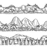 Mountains and forest hand drawn landscapes vector illustration