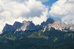 Mountains and forest at Lago di Braies royalty free stock images