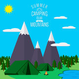 Mountains with forest and lake landscape. Flat vector illustration, for camping and hiking, Extreme sports, outdoor adventure, with recreation place, tents and Royalty Free Stock Photo