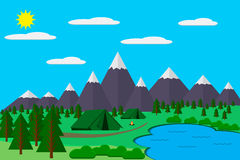 Mountains with forest and lake landscape flat vector illustration, for camping and hiking, Extreme sports, outdoor adventure, with Royalty Free Stock Photo