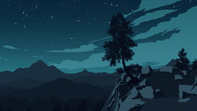 Mountains and forest landscape illustration Stock Photo
