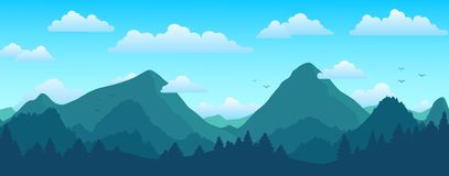 Mountains and forest landscape on sunny day. Vector illustration Stock Images