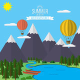Mountains with forest and river trail landscape flat vector illustration, for camping and hiking, Extreme sports, rafting and hot. Air baloons outdoor adventure Stock Photo
