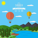 Mountains with forest and river trail landscape flat vector illustration, for camping and hiking, Extreme sports, rafting and hot. Air baloons outdoor adventure Stock Photos