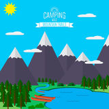 Mountains with forest and river trail landscape flat vector illustration, for camping and hiking, Extreme sports, rafting outdoor. Mountains with forest and lake Stock Image
