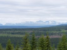Mountain landscape in north Sweden stock photography