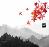 Mountains with forest trees in fog and red japanese maple leaves. Contains hieroglyph - happiness.Traditional oriental. Ink painting sumi-e, u-sin, go-hua Stock Photos