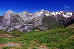 Mountains and forestin Artouste in the French Pyrenees. royalty free stock photos