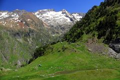 Mountains and forestin Artouste in the French Pyrenees. royalty free stock photography