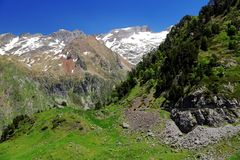 Mountains and forestin Artouste in the French Pyrenees. stock photos