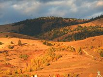 Mountains and forests. Close-up at sunset with cloudy sky in Gheorgheni, Romania Stock Photo