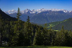 Mountains and forests. Mountains and green fir-tree forests in fall Royalty Free Stock Images