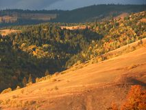 Mountains and forests. Close-up at sunset with cloudy sky in Gheorgheni, Romania Royalty Free Stock Images