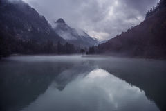 Mountains and forests reflecting on lake