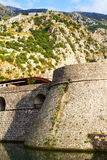 Mountains and fortification view in Kotor, Bay of Kotor, Montenegro. Old town on Adriatic Sea coast. Royalty Free Stock Photo