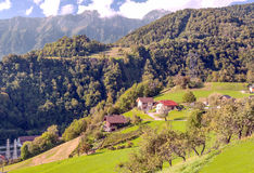 Mountains of the French Alps. With some trees on a sunny day. You can see some houses of village Royalty Free Stock Image