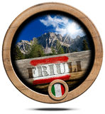 Mountains of Friuli - Wooden Symbol Royalty Free Stock Photos