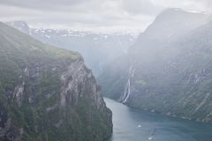 Geiranger at the end of the Sunnylvsfjorden, Norway Royalty Free Stock Image