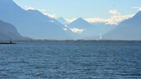 Mountains and Geneva lake stock video