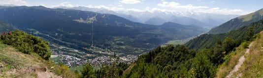 Mountains. In Georgia, the view to small Village Kazbegi, near to Kazbeg Stock Photography