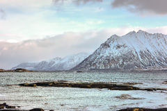Mountains of Gimsoy, Lofoten Islands, Norway Royalty Free Stock Photos