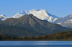 Mountains in Glacier Bay,Alaska,USA. Snow covered mountains and forests in Glacier Bay,Alaska,USA Royalty Free Stock Image