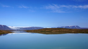 Mountains at glacier lake Langjökull Royalty Free Stock Photos