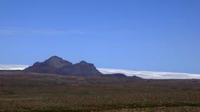 Mountains at glacier Langjökull. Mountain before the Langjökull glacier in Iceland stock image