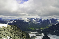Mountains, glaciers and valleys  in Jotunheimen Royalty Free Stock Image