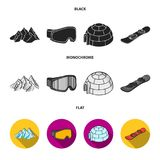 Mountains, goggles, an igloo, a snowboard. Ski resort set collection icons in black, flat, monochrome style vector Royalty Free Stock Images