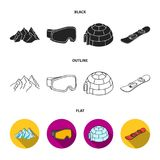 Mountains, goggles, an igloo, a snowboard. Ski resort set collection icons in black,flat,outline style vector symbol. Stock illustration Stock Photo