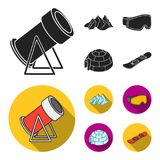 Mountains, goggles, an igloo, a snowboard. Ski resort set collection icons in black, flat style vector symbol stock. Illustration Royalty Free Stock Photography