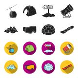 Mountains, goggles, an igloo, a snowboard. Ski resort set collection icons in black,flet style vector symbol stock. Illustration Stock Photography