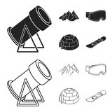 Mountains, goggles, an igloo, a snowboard. Ski resort set collection icons in black,outline style vector symbol stock. Illustration Royalty Free Stock Photography