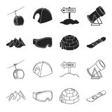 Mountains, goggles, an igloo, a snowboard. Ski resort set collection icons in black,outline style vector symbol stock. Illustration Royalty Free Stock Image