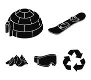 Mountains, goggles, an igloo, a snowboard. Ski resort set collection icons in black style vector symbol stock Royalty Free Stock Photo