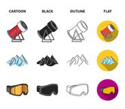 Mountains, goggles, an igloo, a snowboard. Ski resort set collection icons in cartoon,black,outline,flat style vector. Symbol stock illustration Stock Images
