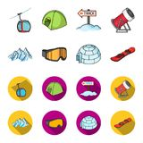 Mountains, goggles, an igloo, a snowboard. Ski resort set collection icons in cartoon,flat style vector symbol stock Royalty Free Stock Photo