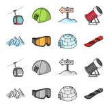 Mountains, goggles, an igloo, a snowboard. Ski resort set collection icons in cartoon,monochrome style vector symbol. Stock illustration Stock Image