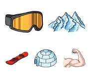 Mountains, goggles, an igloo, a snowboard. Ski resort set collection icons in cartoon style vector symbol stock. Illustration Royalty Free Stock Photo