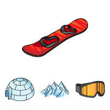 Mountains, goggles, an igloo, a snowboard. Ski resort set collection icons in cartoon style vector symbol stock Stock Image