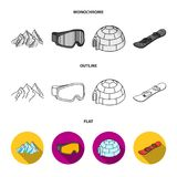 Mountains, goggles, an igloo, a snowboard. Ski resort set collection icons in flat,outline,monochrome style vector. Symbol stock illustration Royalty Free Stock Photo