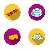 Mountains, goggles, an igloo, a snowboard. Ski resort set collection icons in flat style vector symbol stock Royalty Free Stock Photography
