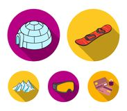 Mountains, goggles, an igloo, a snowboard. Ski resort set collection icons in flat style vector symbol stock. Illustration Stock Images