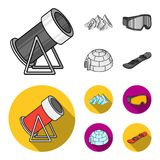 Mountains, goggles, an igloo, a snowboard. Ski resort set collection icons in monochrome,flat style vector symbol stock. Illustration Stock Image