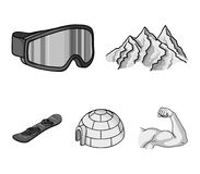 Mountains, goggles, an igloo, a snowboard. Ski resort set collection icons in monochrome style vector symbol stock Royalty Free Stock Image