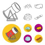 Mountains, goggles, an igloo, a snowboard. Ski resort set collection icons in outline,flat style vector symbol stock. Illustration Royalty Free Stock Images