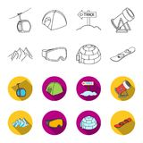 Mountains, goggles, an igloo, a snowboard. Ski resort set collection icons in outline,flat style vector symbol stock. Illustration Royalty Free Stock Photo