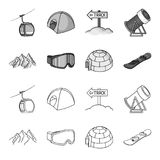 Mountains, goggles, an igloo, a snowboard. Ski resort set collection icons in outline,monochrome style vector symbol Royalty Free Stock Photos