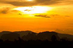 Mountains and golden evening light Royalty Free Stock Image